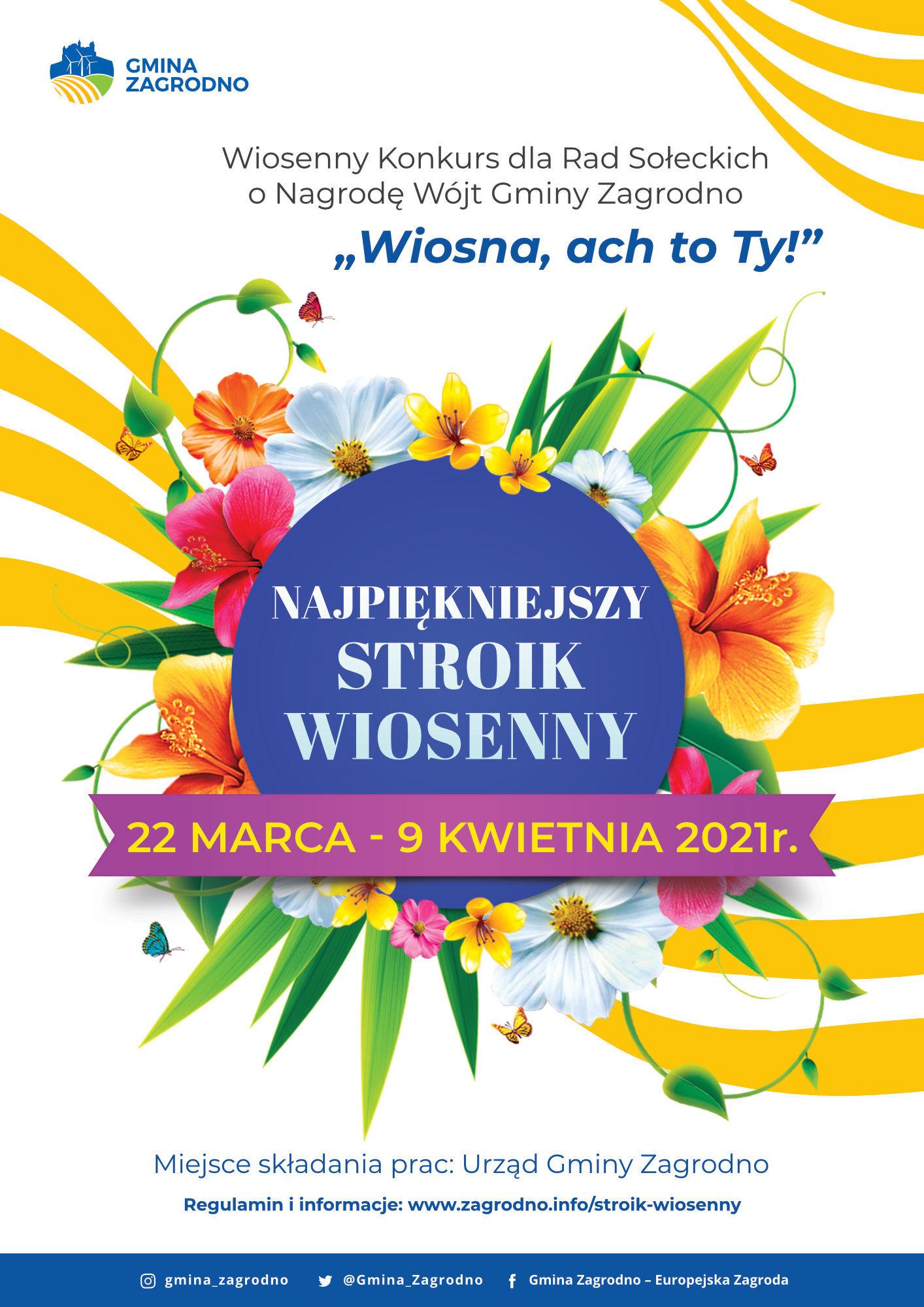 Plakat informujący o konkursie wiosennym dla rad sołeckich