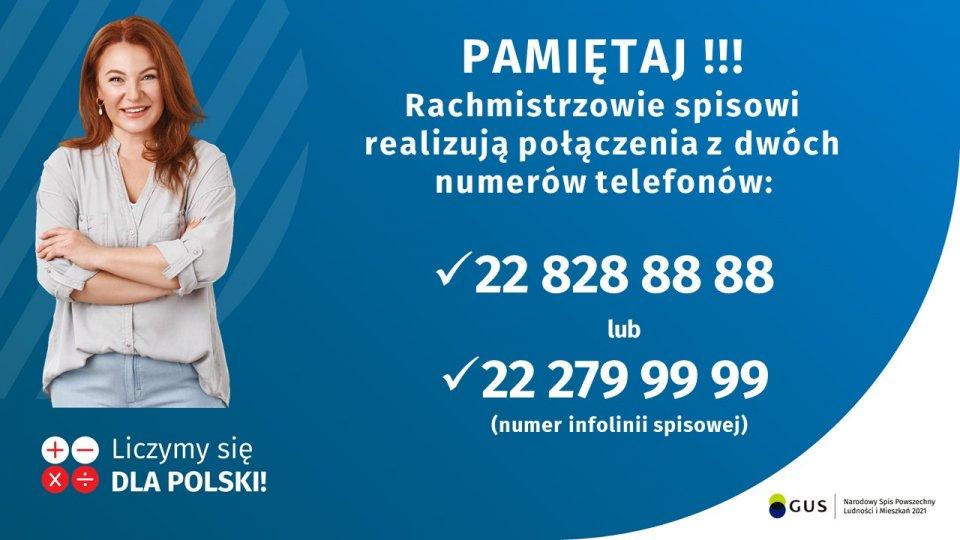 Pamiętaj! rachmistrzowie spisowi realizują połączenia z dwóch numerów telefonów - 22 828 88 88 lub 22 279 99 99